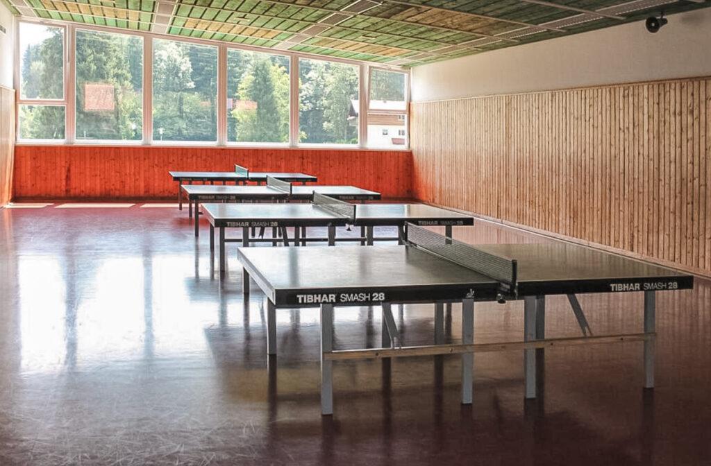 Tischtennishalle mit 6 TT-Platten + 2 Outdoor Platten